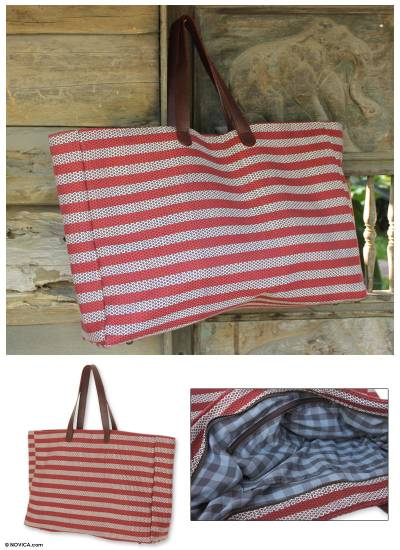 Cotton tote bag, 'Chiang Mai Stars' - Handmade Cotton and Leather Striped Tote Bag