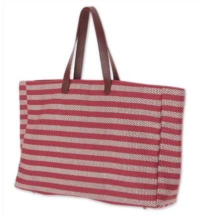 Novica Cotton shoulder bag, Red Plaid Office