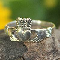 Sterling silver cocktail ring, 'My Heart in Your Hands' - Sterling Silver Band Ring