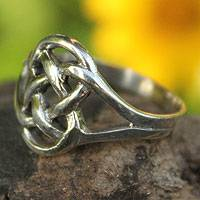 Sterling silver cocktail ring, 'Bound by Love' - Unique Sterling Silver Band Ring
