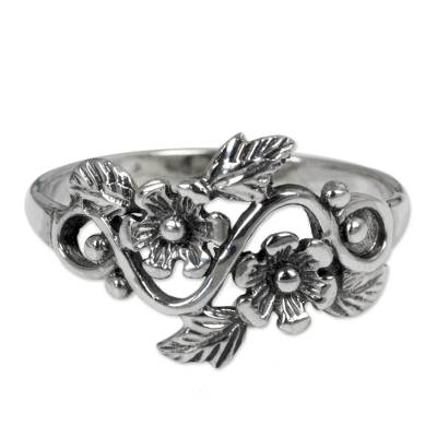 Flower and Leaf Sterling Silver Band Ring from Thailand