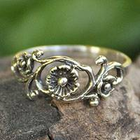 Sterling silver flower ring, 'Lotus Rose'