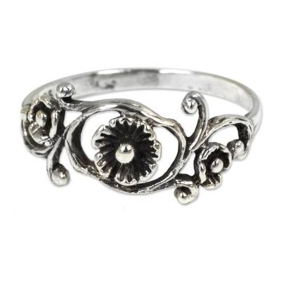 Floral Sterling Silver Band Ring from Thailand