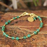 Gold plated beaded bracelet, 'Green Divine Deva' - Unique Gold Plated Quartz Bracelet