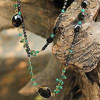 Onyx long beaded necklace, 'Vivid Forest'