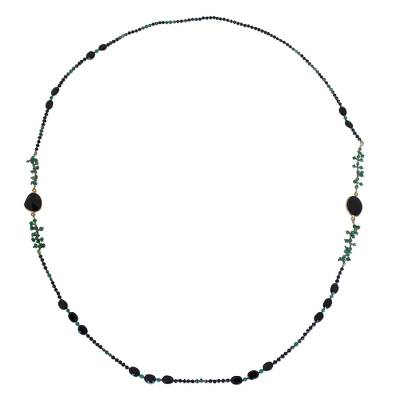 Onyx long beaded necklace, 'Vivid Forest' - Onyx and Pyrite Necklace
