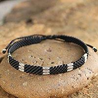 Silver accent wristband bracelet, 'Hill Tribe Rice'