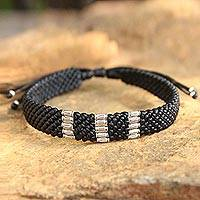 Silver accent wristband bracelet, 'Karen Rice Harvest' - Silver Braided Bracelet