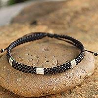 Silver accent wristband bracelet, 'Three Kingdoms' - Exquisite Braided Bracelet with Sterling Silver Accents
