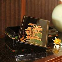 Lacquered wood box, 'Flame of the Forest' - Lacquered wood box