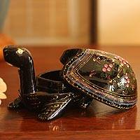 Lacquered wood box, 'Lucky Pink Turtle' - Lacquered Wood Decorative Box