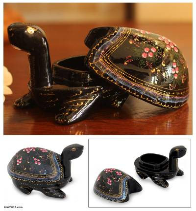 Lacquered wood box, Lucky Pink Turtle