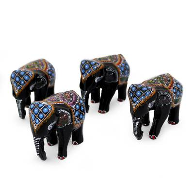 Lacquered wood figurines, 'Four Young Elephants' (set of 4) - Lacquered Wood Elephant Sculptures (Set of 4)