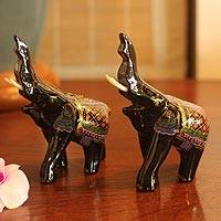 Lacquered wood figurines, 'Happy Elephants' (pair) - Lacquered Wood Figurines (Pair)