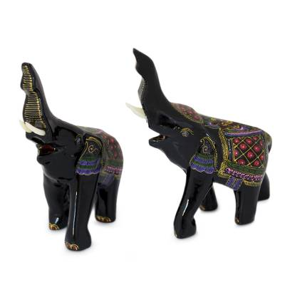 Lacquered Wood Figurines (Pair)