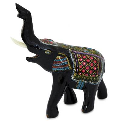 Artisan Crafted Wood Elephant Sculpture