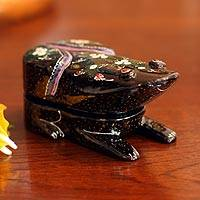 Lacquered wood box, 'Good Luck Frog' - Handcrafted Lacquered Wood Box