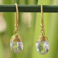 Gold vermeil quartz dangle earrings, 'Sublime Elegance' - Gold Vermeil and Quartz Dangle Earrings