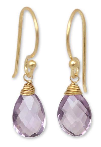 Gold vermeil amethyst dangle earrings, 'Sublime Elegance' - Artisan Crafted Vermeil Amethyst Earrings
