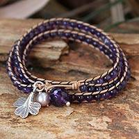 Leather and amethyst wrap bracelet, 'Fortune's Wisdom' - Artisan Crafted Leather and Amethyst Wrap Bracelet