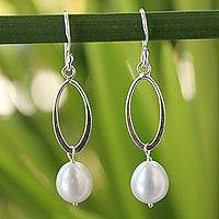 Cultured pearls dangle earrings, 'Dragon Love' - Sterling Silver and Pearl Dangle Earrings