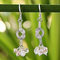 Cultured pearls and rose quartz cluster earrings, 'Love Knots' - Thai Sterling Silver Pearl Earrings