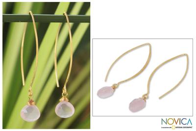 Gold vermeil rose quartz dangle earrings, 'Breath of Love' - Fair Trade Gold Vermeil and Rose Quartz Earrings