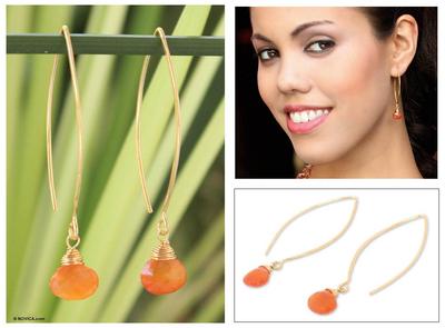 Gold vermeil carnelian dangle earrings, 'Breath of Love' - Handmade Vermeil and Carnelian Earrings