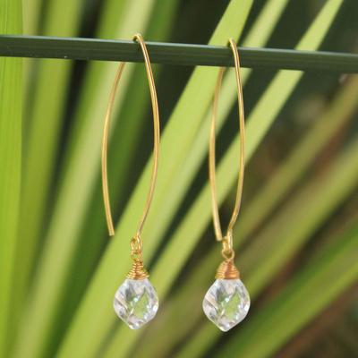 Gold vermeil quartz dangle earrings, 'Breath of Love' - Gold Vermeil Quartz Dangle Earrings