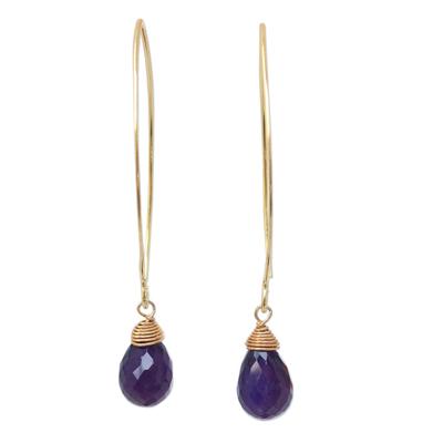 Gold vermeil amethyst dangle earrings, 'Breath of Love' - Hand Made Gold Vermeil Amethyst Dangle Earrings
