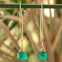 Gold vermeil dangle earrings, 'Breath of Love'
