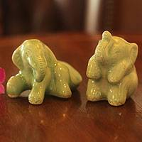 Celadon ceramic figurines, 'Elephant Play Time' (pair) - Celadon ceramic figurines (Pair)
