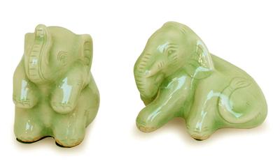 Celadon ceramic figurines (Pair)