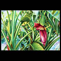 'Blossom of the Banana Tree I' - Thai Fine Art Watercolor Painting