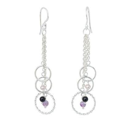 Cultured pearl and amethyst dangle earrings, 'Siam Chimes' - Artisan Crafted Sterling Silver and Pearl Earrings