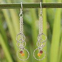 Cultured pearl and carnelian dangle earrings, 'Siam Chimes' - Handcrafted Sterling Silver Multigem Dangle Earrings