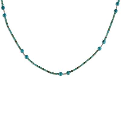 Reconstituted Turquoise Beaded Necklace