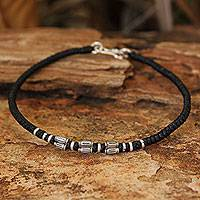 Silver accent wristband bracelet, 'Hill Tribe Smile'
