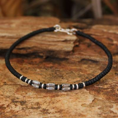 Silver accent wristband bracelet, 'Hill Tribe Smile' - Hand Crafted Silver Braided Bracelet