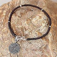 Silver accent charm bracelet, 'Spiral Sun' - Handmade Silver Braided Bracelet
