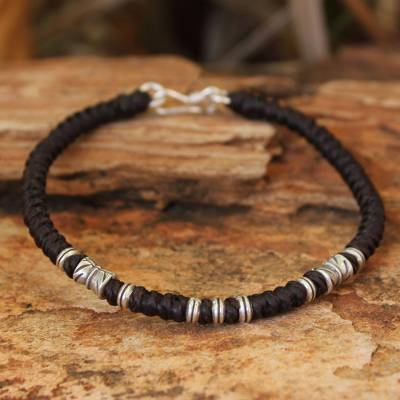 Silver accent wristband bracelet, 'Hill Tribe Heritage' - Handmade Silver Braided Bracelet from Thailand