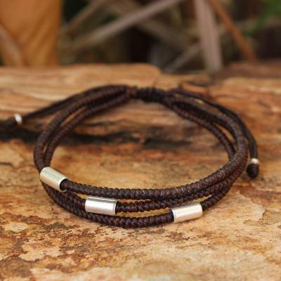 Silver accent wristband bracelet, 'Hill Tribe Friend' - Silver Braided Bracelet