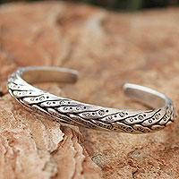 Men's silver cuff bracelet, 'Karen Hero' - Men's Artisan Crafted Silver Cuff Bracelet