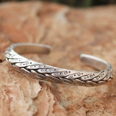 Men S Silver Cuff Bracelet Karen Hero Crafted