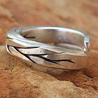 Men's silver wrap ring, 'Hill Tribe Braid'