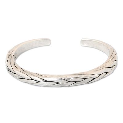 Men's sterling silver cuff bracelet, 'Hill Tribe Braid' - Men's Handcrafted Sterling Silver Cuff Bracelet