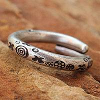 Men's silver wrap ring, 'Karen Mystique'