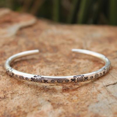 Men's silver cuff bracelet, 'Karen Mystique' - Men's Hill Tribe Silver Cuff Bracelet