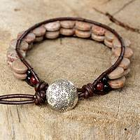 Jasper wristband bracelet, 'Rosewood Sun' - Jasper wristband bracelet