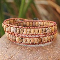 Jasper wrap bracelet, 'Earthly Melody' - Hand Crafted Thai Leather and Jasper Beaded Bracelet